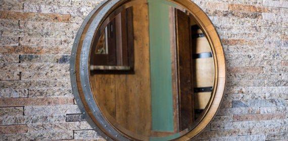 Miroir en barrique de chêne