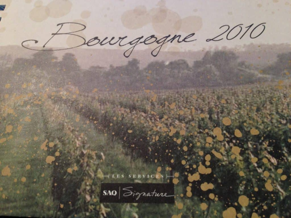 Courrier vinicole SAQ Bourgogne