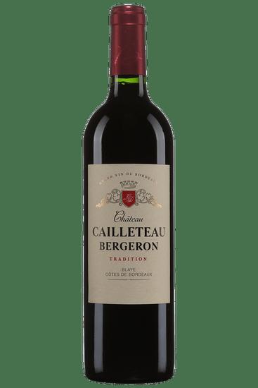 Bouteille de vin rouge Château Cailleteau Bergeron Tradition Blaye Côtes de Bordeaux 2017