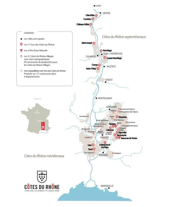 Carte de l'AOC Côtes du Rhône