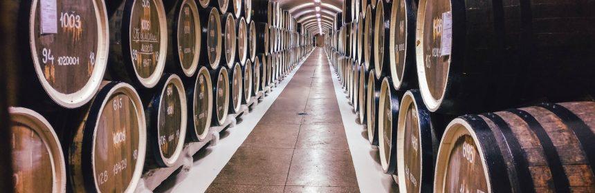 Barriques de vin en cave