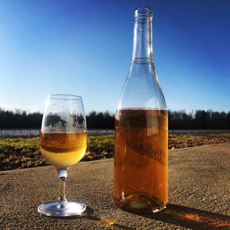 Bouteille de vin au soleil